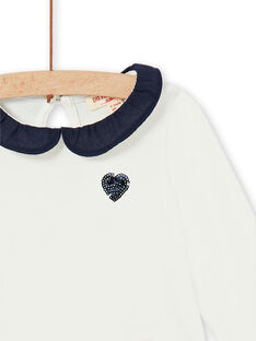 Ecru and dark blue cotton baby girl t-shirt LIJOBRA4 / 21SG0934BRA001
