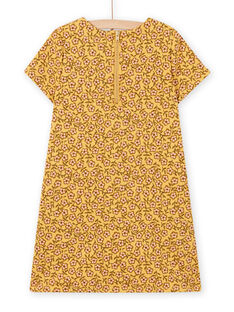 Child girl's yellow dress with floral print and animation bag MASAUROB4 / 21W901P4ROBB107