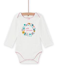 Baby girl white bodysuit with flower crown MEFIBODPRI / 21WH13C4BDL001
