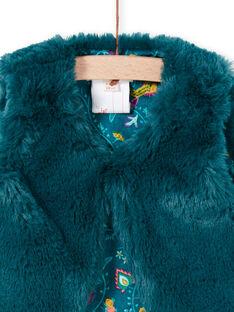 Baby girl duck blue faux fur sleeveless vest MITUCAR2 / 21WG09K2CAR714