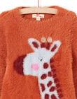 Girl's long sleeve sweater with giraffe motif MACOMPULL / 21W901L1PUL420
