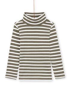 Boy's khaki and ecru striped long-sleeved undershirt MOJOSOUP3 / 21W902N3SPLG631
