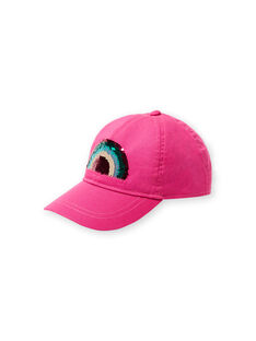 Pink cap with rainbow pattern in reversible sequins for child girl JYAMARCAP / 20SI01P1CHAH700