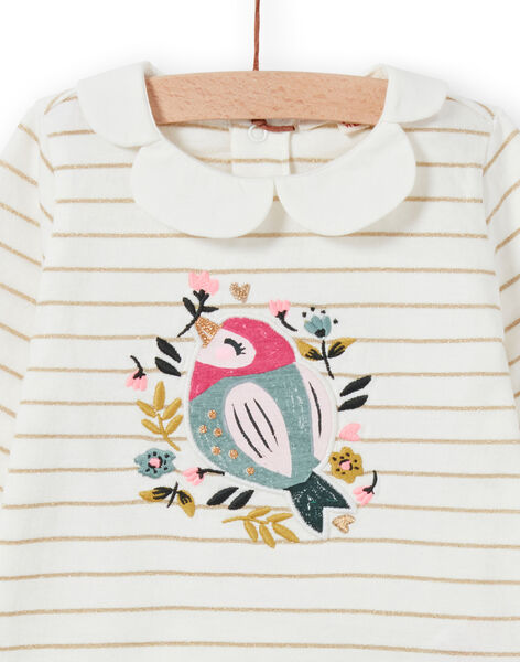 Baby girl's striped t-shirt with bird and flower design MIKABRA / 21WG09I1BRA001