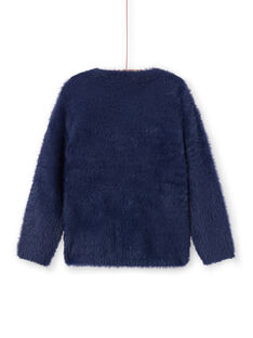 Baby girl navy blue faux fur sweater MATUPULL / 21W901K1PUL070