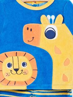 Velvet baby boy pajamas with lion and giraffe animation LEFUPYJAMI / 21SH1411PYJC209