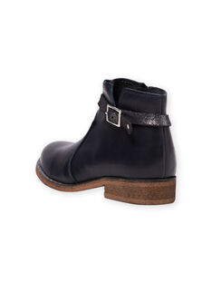 Navy blue leather boots child girl MABOOTREP / 21XK3552D0D070