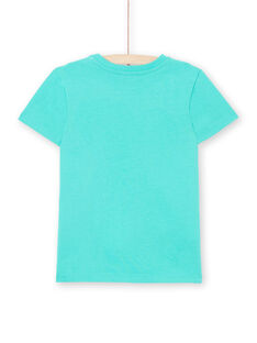 Short sleeve turquoise t-shirt for boys LOJOTI7 / 21S902F1TMC600