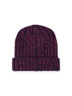 Girl's midnight blue and pink chenille knit hat MYATUBON / 21WI0156BONC205