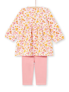 Baby Girl's Pink and Yellow Floral Print Dress and Pink Leggings MISAUENS / 21WG09P1ENS632