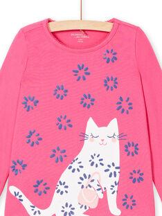 Pyjamas T-shirt and pants fuchsia and white child girl LEFAPYJWAX / 21SH1157PYJ030