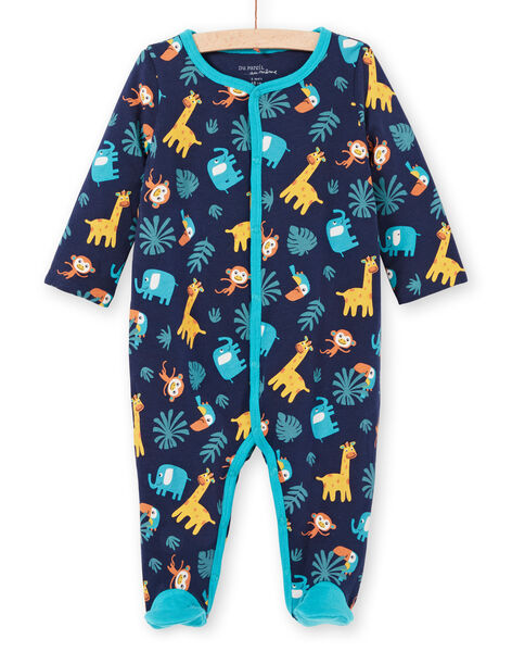Reversible baby boy night blue animal print romper MEGAGREANI / 21WH1486GREC205