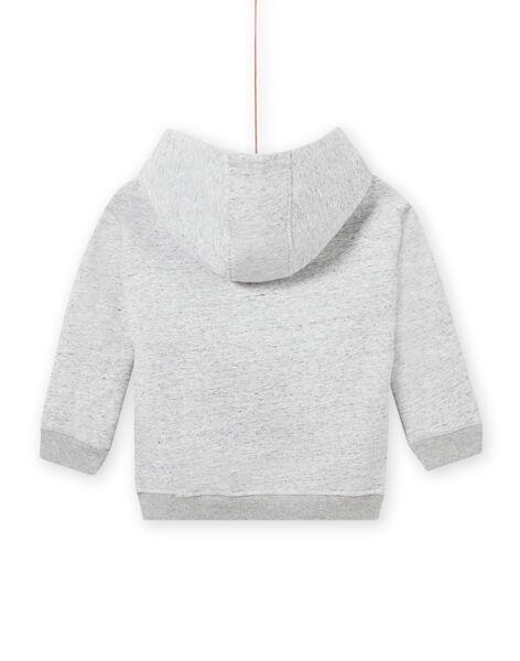 Baby boy grey animal print hoodie MOSAUSWE / 21W902P1SWEJ922