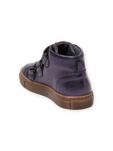Child girl navy blue metallic high top sneakers MABASMETAL / 21XK3555D3F070