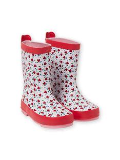 Baby girl's red and white rain boots LFBPHEARTS / 21KK3521D0C000