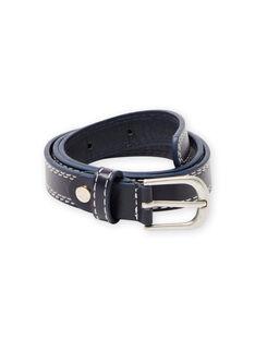 Boy's navy blue belt with visible seams MYOESBELT1 / 21WI02E3CEI070