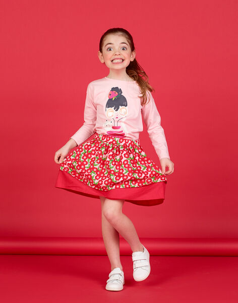 Long sleeve t-shirt with little girl and cat print LAROUTEE1 / 21S901K1TMLD326
