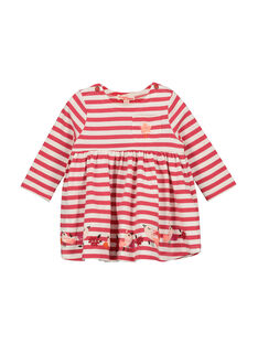 Baby girls' striped dress FIBAROB3 / 19SG0963ROB308