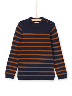 Boy's navy blue and brown striped sweater MOJOPUL2 / 21W90211PUL812
