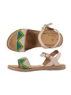 Girls' smart leather and bead sandals FFSANDJU / 19SK35D4D0E301