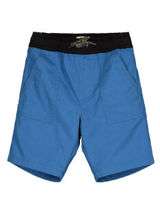 Boys' blue canvas shorts GOBLEBER / 19W90292BERC232