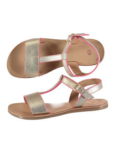 Girls' smart metallic leather sandals FFSANDISSA / 19SK35C6D0E954