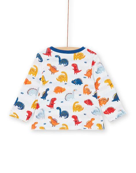 Reversible white and red dinosaur print cotton baby boy t-shirt LUCANTEE2 / 21SG10M2TML000