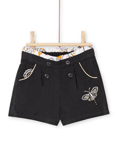Baby girl's velvet shorts in anthracite LIPOESHO / 21SG09Y1SHOJ916