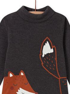 Baby boy's charcoal grey turtleneck sweater with fox pattern MUSAUSOUP / 21WG10P1SPL944