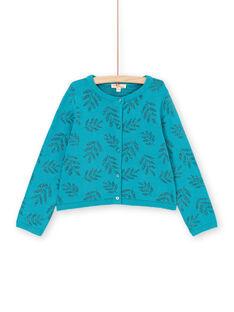 Lurex® turquoise vest with foliage print LAVERCAR / 21S901Q1CARC216