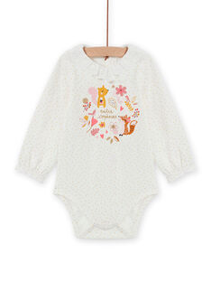 Baby girl's long sleeve bodysuit with polka dots and fancy patterns MISAUBOD / 21WG09P1BOD001