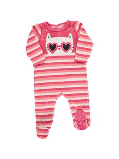 Baby girls' velour sleepsuit CEFIGRECHA / 18SH1341GRE099