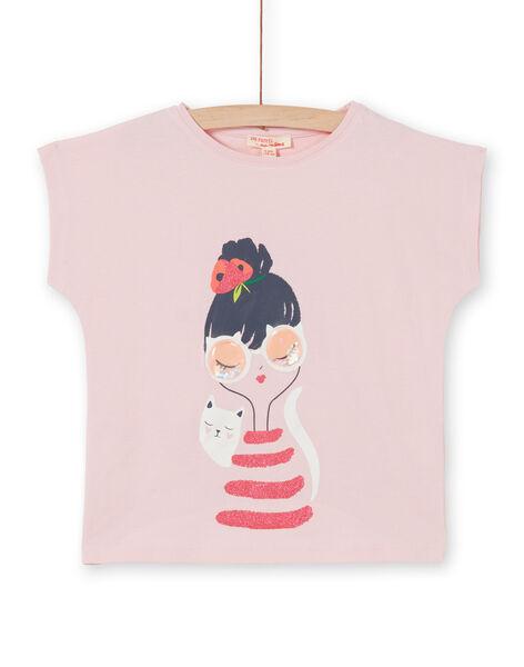 Pastel pink short sleeve T-shirt LAROUTIEX / 21S901K1TMCD326