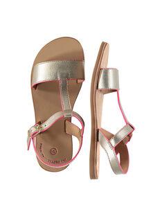 Girls' smart metallic leather sandals FFSANDISSA / 19SK35C6D0E954