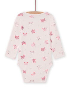 Baby girl's pink long sleeve bodysuit with fox print MEFIBODTET / 21WH13C1BDL632