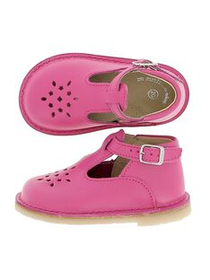 Baby girls' leather T-bar shoes CBFSALBASI5 / 18SK37W5D3H304