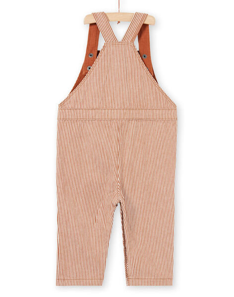 Baby boy's brown and ecru striped twill overalls with dinosaur animation MUPASAL / 21WG10H1SALI811