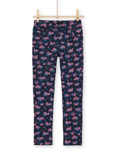 Dark blue and pink jeggings with floral print in brushed fleece LAJOPANT1 / 21S90133D2BC205