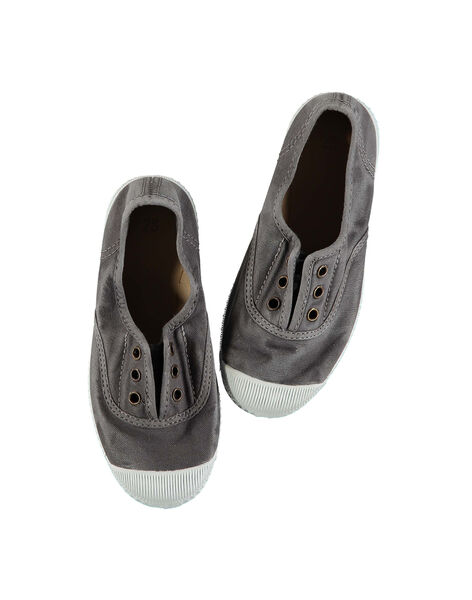 Boys' plain canvas trainers FGTENGREY / 19SK36B3D16940