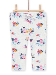 Baby girl grey floral print jogging suit MIPLABAJOG / 21WG09O1JGBJ920