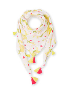 White and yellow scarf printed flowery child girl LYAJAUFOUL / 21SI01O1FOU000