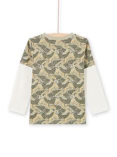 Boy's khaki and blue leopard print T-shirt MOKATEE3 / 21W902I2TML612