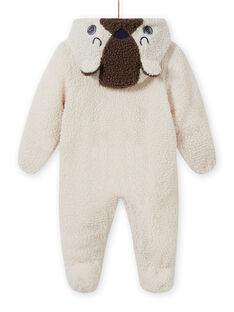 Baby boy's ecru sherpa bear jumpsuit MUGROPIL / 21WG1061PIL001