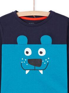 Boy's blue and navy blue pajama set T-shirt and pants MEGOPYJMAN2 / 21WH1271PYG705
