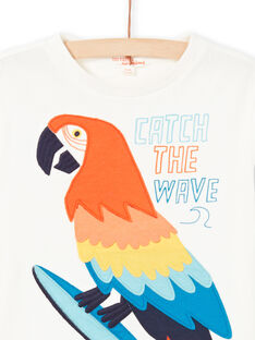 Boy's ecru parrot T-shirt LOBONTI5 / 21S902W3TMC001