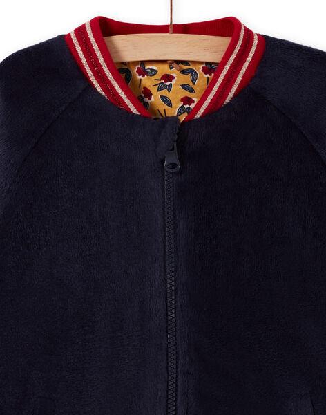 Girl's reversible blue teddy cardigan MAMIXCAR2 / 21W901J1CARC205