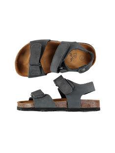Boys' smart leather sandals FGNUGREY / 19SK36D4D0E940