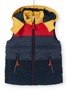 Sleeveless hooded jacket navy blue and red child boy boy LOGRODOU2 / 21S902R5BLO705