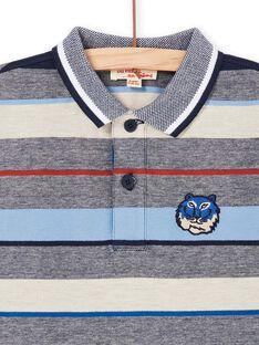 Mottled gray and red striped polo shirt - Child boy LOBLEPOL / 21S902J1POL705