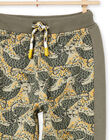 Boy's khaki leopard print jogging suit MOKAJOG2 / 21W902I2JGB612